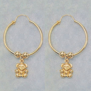 "Puffed Teddy Bear Dangling Hoop Earrings  (14KGF) - 1"" wide by 1 1/2"" long - At this price, all sales final - limited quantities. at www.SunshineJewelry.com"