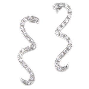 Sterling Silver Cubic Zirconia Wave Earrings at www.SunshineJewelry.com