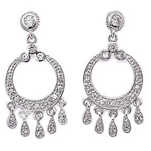 Sterling Silver Circular Cubic Zirconia Dangle Earrings at www.SunshineJewelry.com