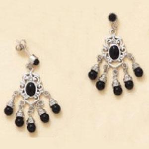 Sterling Silver Onyx Bead Dangling Earrings at www.SunshineJewelry.com