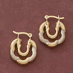 Two Tone Funky Town Earrings at www.SunshineJewelry.com