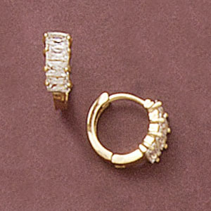 Baguette Cz Huggie Earrings at www.SunshineJewelry.com