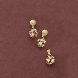 Round Ball Cz Pendant And Earring Set at www.SunshineJewelry.com