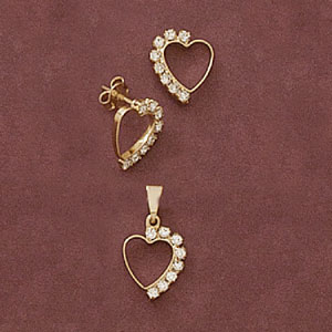 Heart Cz Pendant And Earring Set at www.SunshineJewelry.com