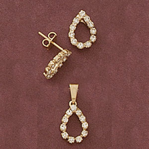 Teardrop Cz Pendant And Earring Set at www.SunshineJewelry.com