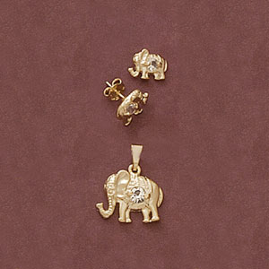 Cz Elephant Pendant And Earring Set at www.SunshineJewelry.com