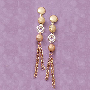 Tricolor Satin Multibead Earrings at www.SunshineJewelry.com