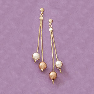 Tricolor Dangling Ball Earrings at www.SunshineJewelry.com