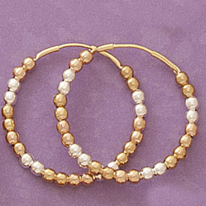 Tricolor Ball Hoop Earrings at www.SunshineJewelry.com