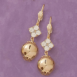 Cz Accent Ball Drop Earrings at www.SunshineJewelry.com