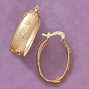 Oval Flower Design Hoop Earrings at www.SunshineJewelry.com