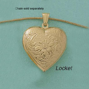 Puffed Heart Locket with Flower Accents